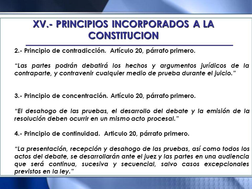 XV.- PRINCIPIOS INCORPORADOS A LA CONSTITUCION 2.- Principio de contradicción. Artículo 20, párrafo primero. Las partes podrán debatirá los hechos y a