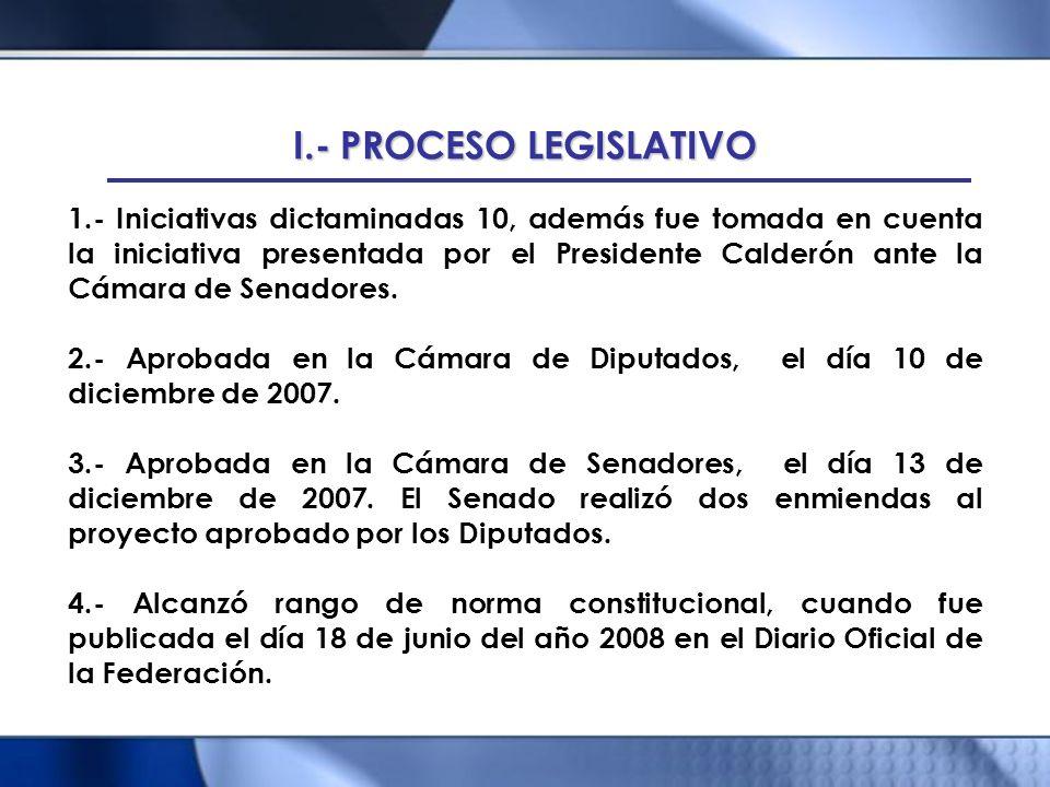 I.- PROCESO LEGISLATIVO 1.- Iniciativas dictaminadas 10, además fue tomada en cuenta la iniciativa presentada por el Presidente Calderón ante la Cámar