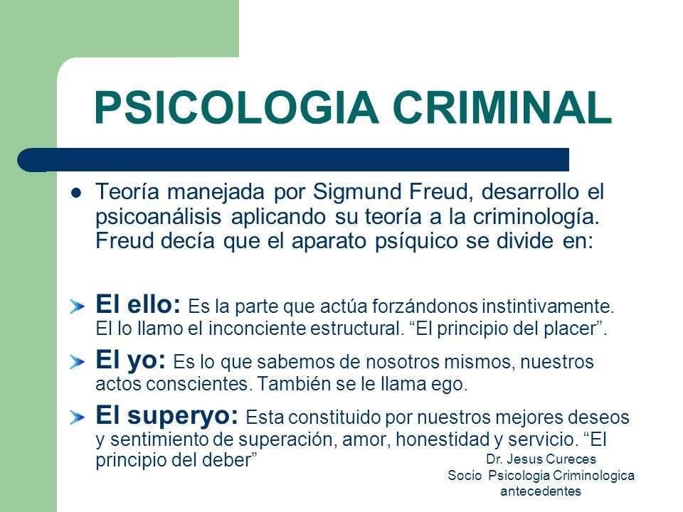 PSICOLOGIA CRIMINAL Teoría manejada por Sigmund Freud, desarrollo el psicoanálisis aplicando su teoría a la criminología.