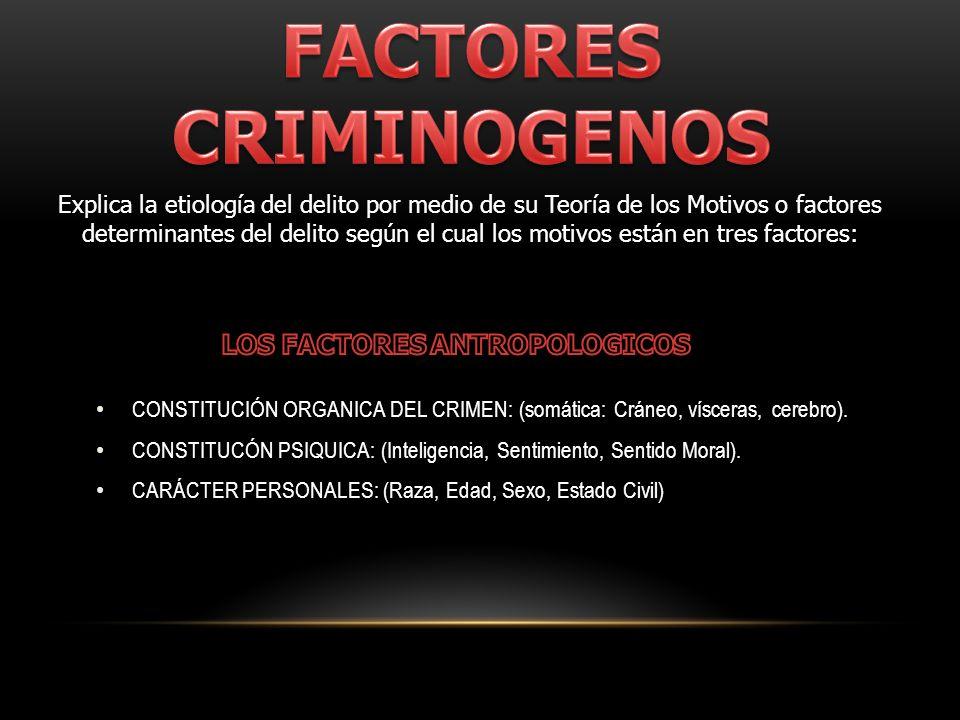 CONSTITUCIÓN ORGANICA DEL CRIMEN: (somática: Cráneo, vísceras, cerebro). CONSTITUCÓN PSIQUICA: (Inteligencia, Sentimiento, Sentido Moral). CARÁCTER PE