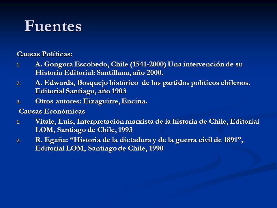 Fuentes Causas Políticas: 1. A. Gongora Escobedo, Chile (1541-2000) Una intervención de su Historia Editorial: Santillana, año 2000. 2. A. Edwards, Bo