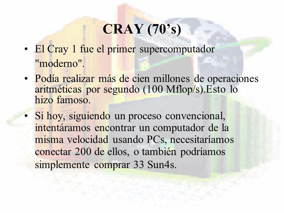 CRAY (70s) El Cray 1 fue el primer supercomputador