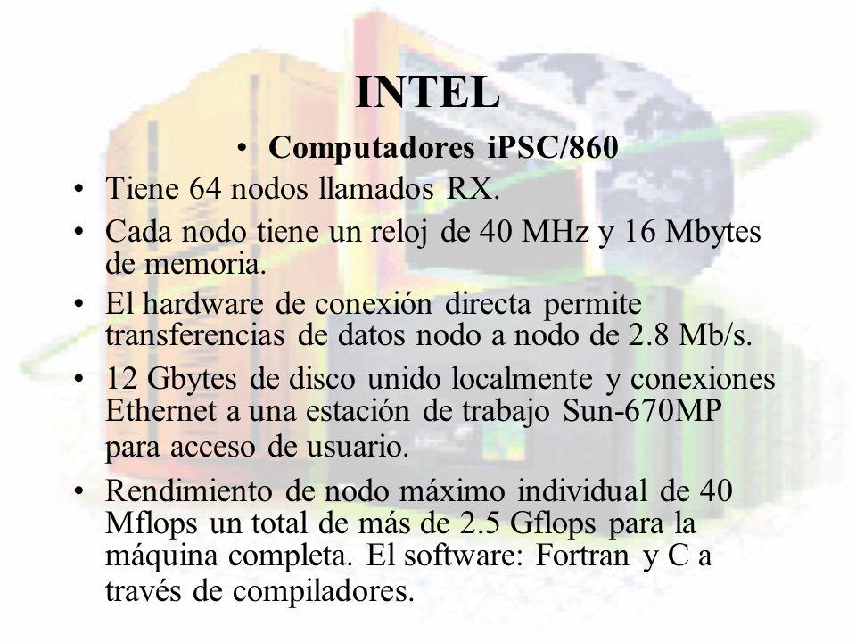 INTEL Computadores iPSC/860 Tiene 64 nodos llamados RX. Cada nodo tiene un reloj de 40 MHz y 16 Mbytes de memoria. El hardware de conexión directa per