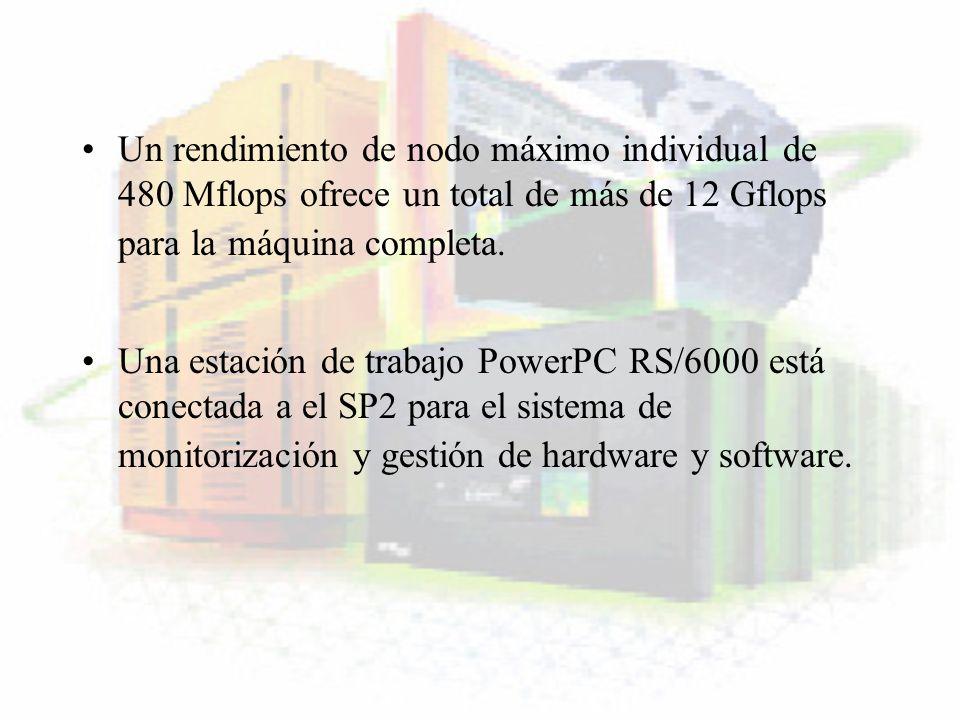 Un rendimiento de nodo máximo individual de 480 Mflops ofrece un total de más de 12 Gflops para la máquina completa. Una estación de trabajo PowerPC R