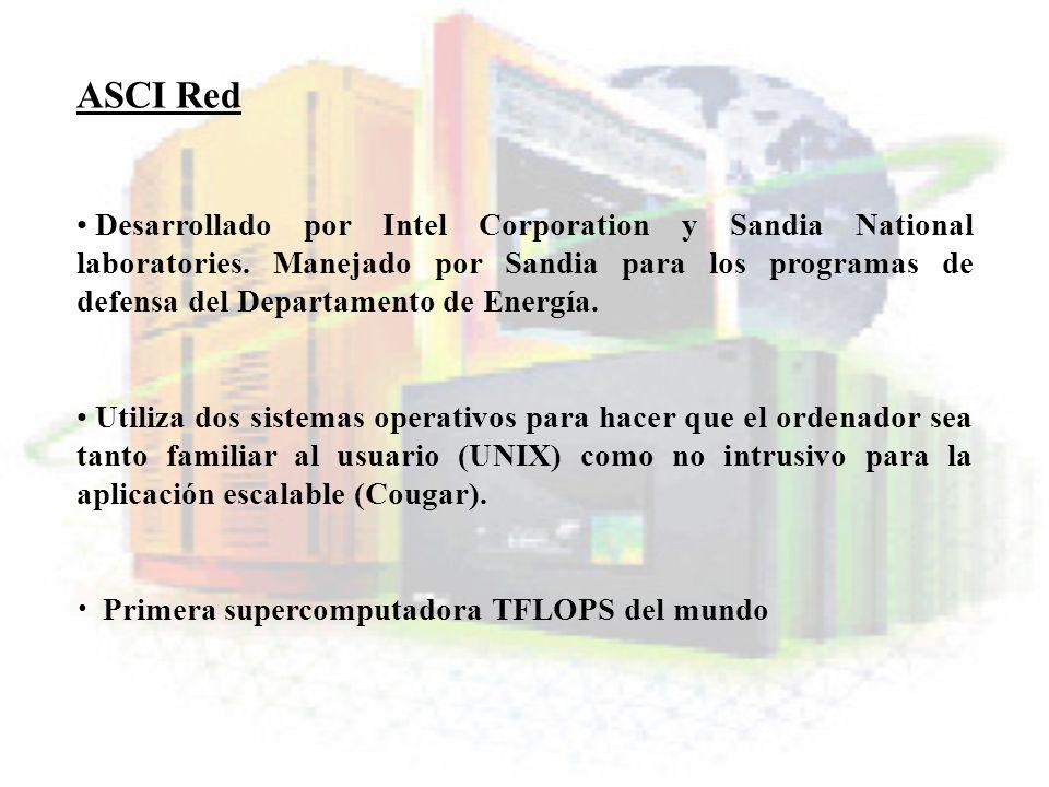 ASCI Red Desarrollado por Intel Corporation y Sandia National laboratories. Manejado por Sandia para los programas de defensa del Departamento de Ener
