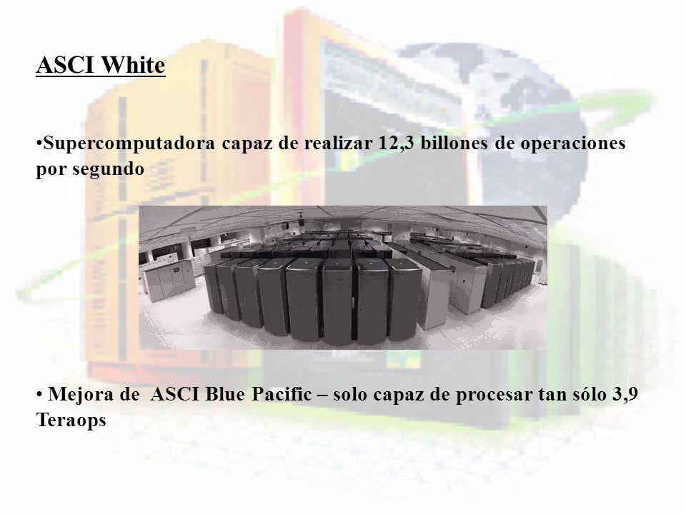 ASCI White Supercomputadora capaz de realizar 12,3 billones de operaciones por segundo Mejora de ASCI Blue Pacific – solo capaz de procesar tan sólo 3