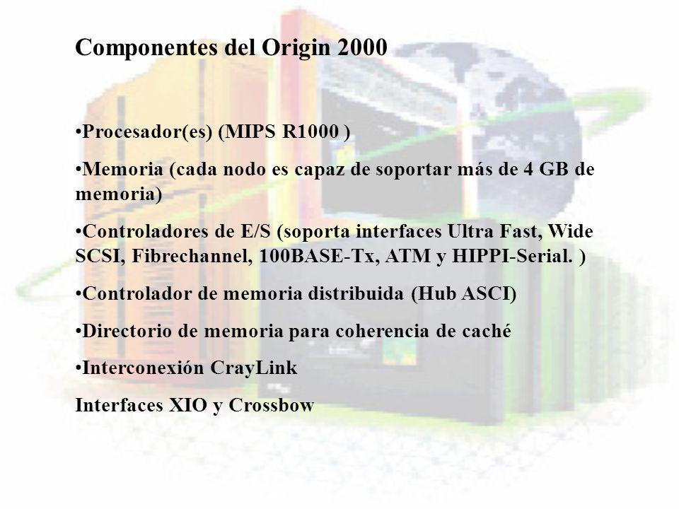 Componentes del Origin 2000 Procesador(es) (MIPS R1000 ) Memoria (cada nodo es capaz de soportar más de 4 GB de memoria) Controladores de E/S (soporta