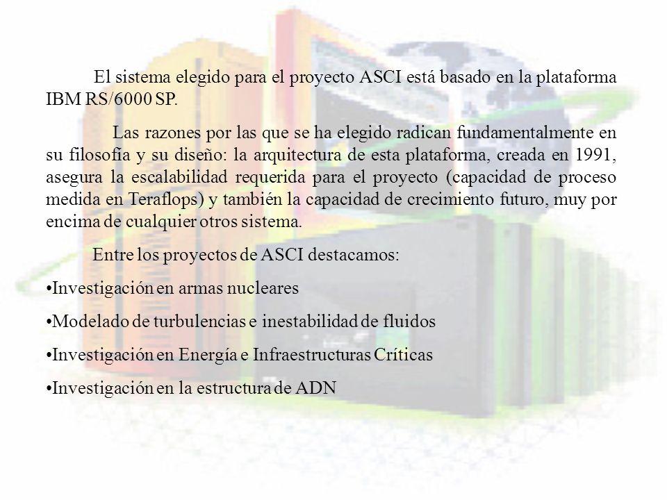 El sistema elegido para el proyecto ASCI está basado en la plataforma IBM RS/6000 SP. Las razones por las que se ha elegido radican fundamentalmente e