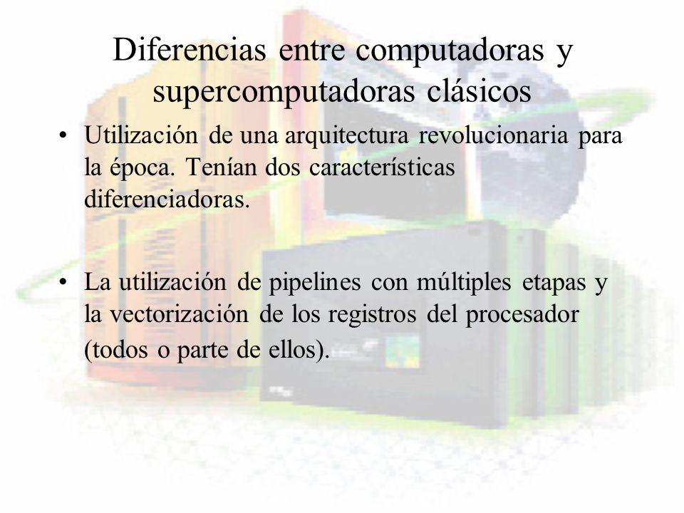 Diferencias entre computadoras y supercomputadoras clásicos Utilización de una arquitectura revolucionaria para la época. Tenían dos características d