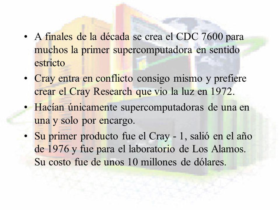 A finales de la década se crea el CDC 7600 para muchos la primer supercomputadora en sentido estricto Cray entra en conflicto consigo mismo y prefiere