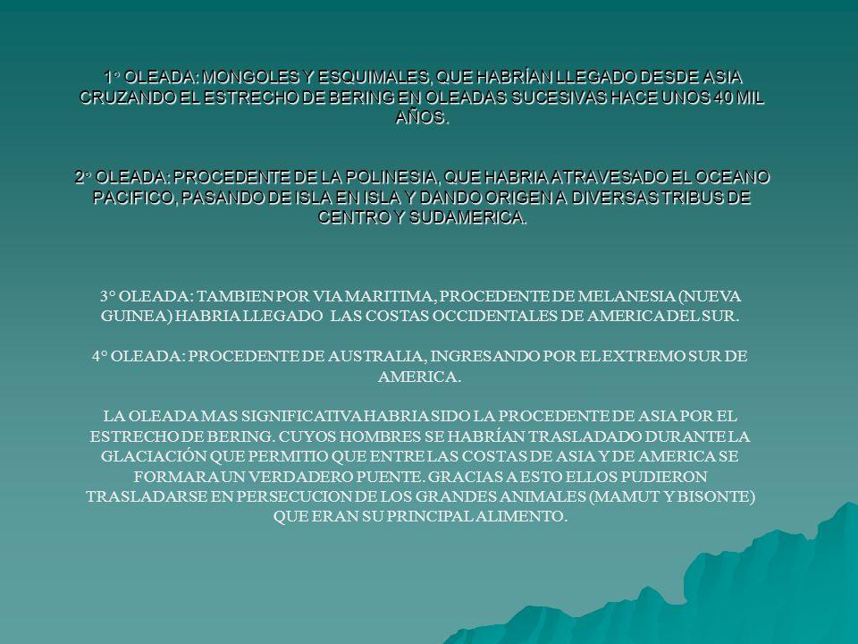 1° OLEADA: MONGOLES Y ESQUIMALES, QUE HABRÍAN LLEGADO DESDE ASIA CRUZANDO EL ESTRECHO DE BERING EN OLEADAS SUCESIVAS HACE UNOS 40 MIL AÑOS. 2° OLEADA: