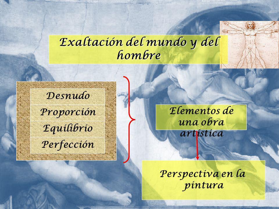 Exaltación del mundo y del hombre Desnudo Proporción Equilibrio Perfección Elementos de una obra artística Perspectiva en la pintura