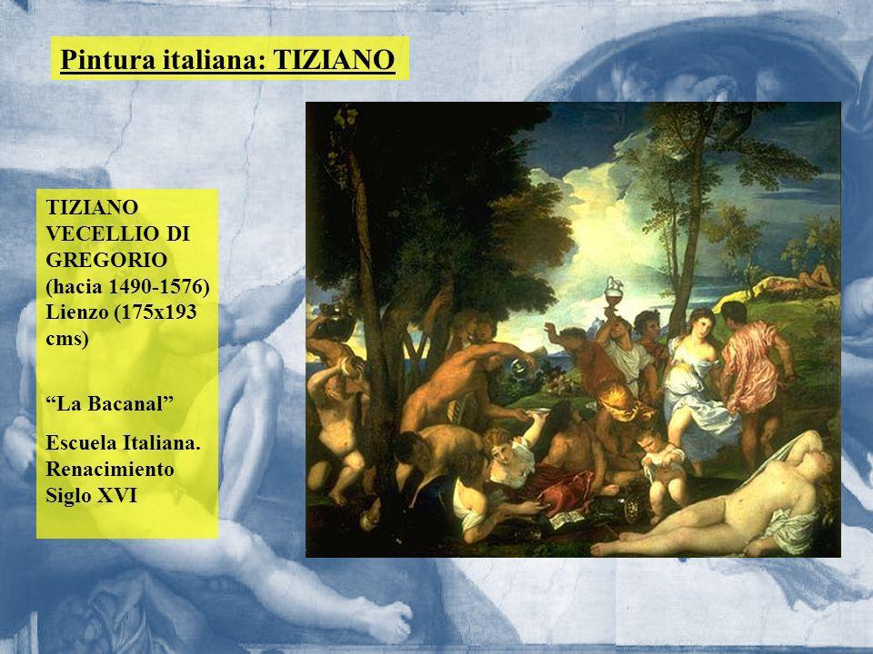 Pintura italiana: TIZIANO TIZIANO VECELLIO DI GREGORIO (hacia 1490-1576) Lienzo (175x193 cms) La Bacanal Escuela Italiana. Renacimiento Siglo XVI