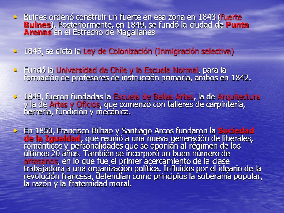 Bulnes ordenó construir un fuerte en esa zona en 1843 (fuerte Bulnes). Posteriormente, en 1849, se fundó la ciudad de Punta Arenas en el Estrecho de M