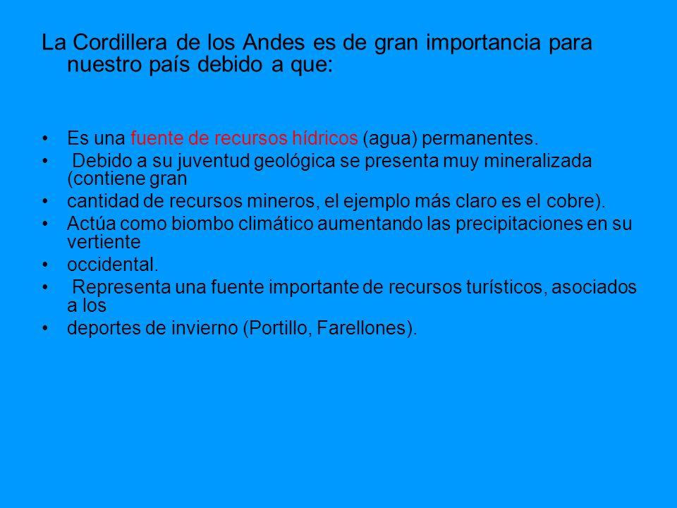 La Cordillera de los Andes es de gran importancia para nuestro país debido a que: Es una fuente de recursos hídricos (agua) permanentes. Debido a su j