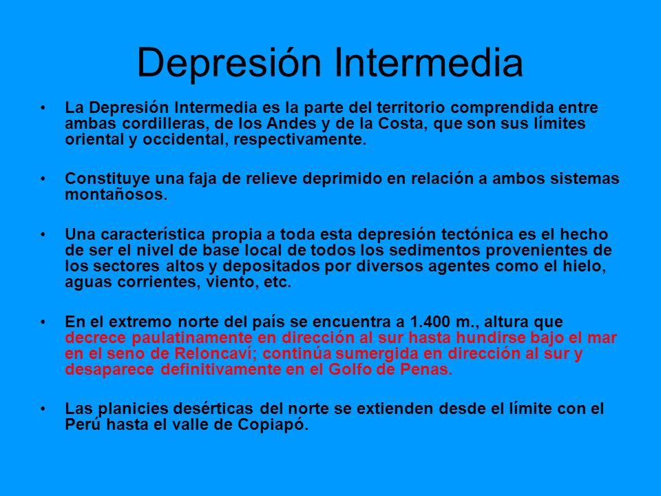 Depresión Intermedia La Depresión Intermedia es la parte del territorio comprendida entre ambas cordilleras, de los Andes y de la Costa, que son sus l