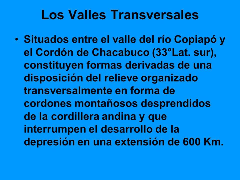 Los Valles Transversales Situados entre el valle del río Copiapó y el Cordón de Chacabuco (33°Lat. sur), constituyen formas derivadas de una disposici