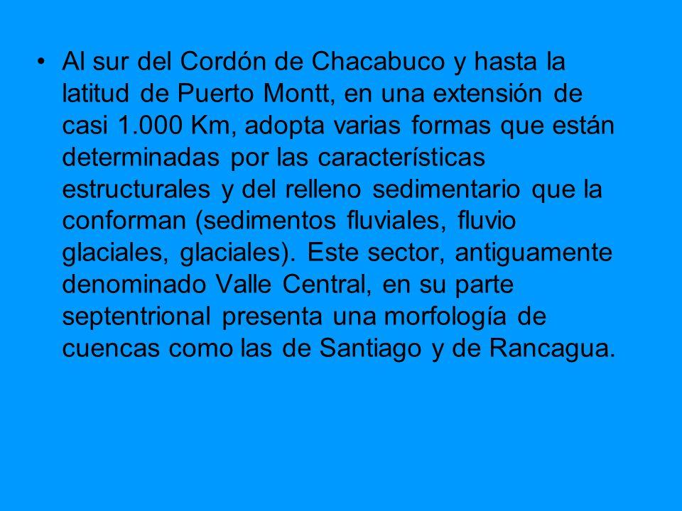 Al sur del Cordón de Chacabuco y hasta la latitud de Puerto Montt, en una extensión de casi 1.000 Km, adopta varias formas que están determinadas por