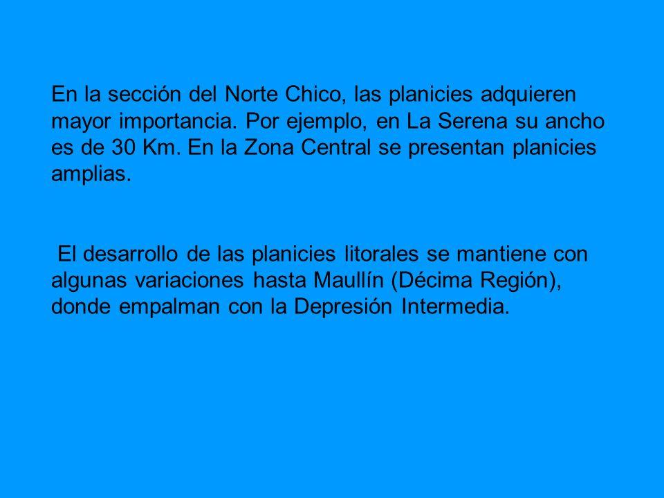 En la sección del Norte Chico, las planicies adquieren mayor importancia. Por ejemplo, en La Serena su ancho es de 30 Km. En la Zona Central se presen