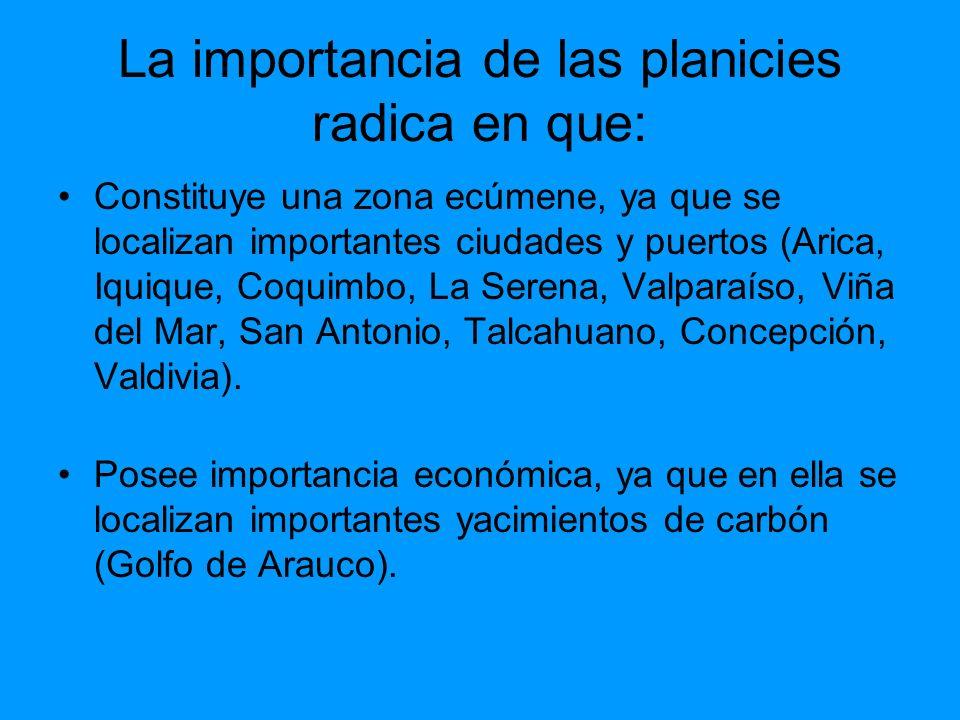 La importancia de las planicies radica en que: Constituye una zona ecúmene, ya que se localizan importantes ciudades y puertos (Arica, Iquique, Coquim