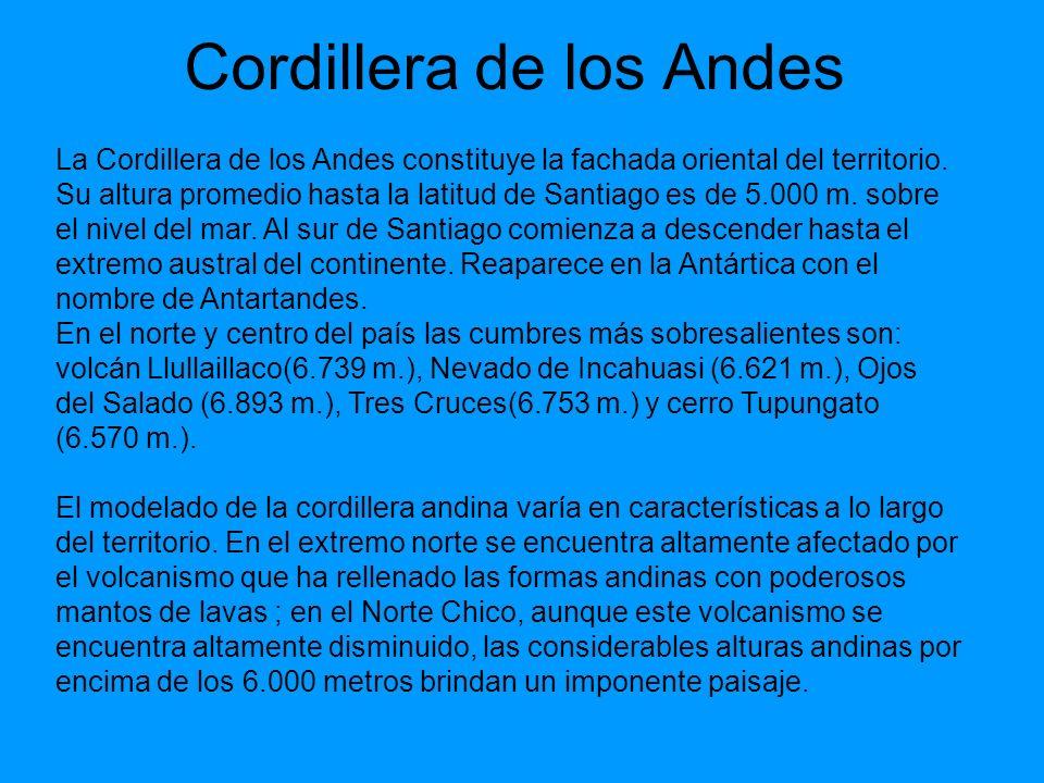 Cordillera de los Andes La Cordillera de los Andes constituye la fachada oriental del territorio. Su altura promedio hasta la latitud de Santiago es d