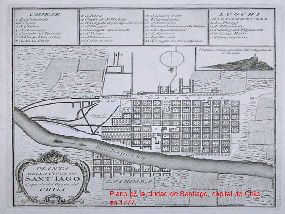 Plano de la ciudad de Santiago, capital de Chile, en 1777.