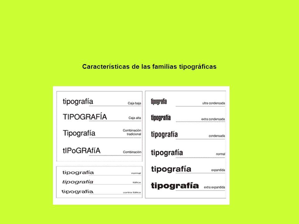 Características de las familias tipográficas