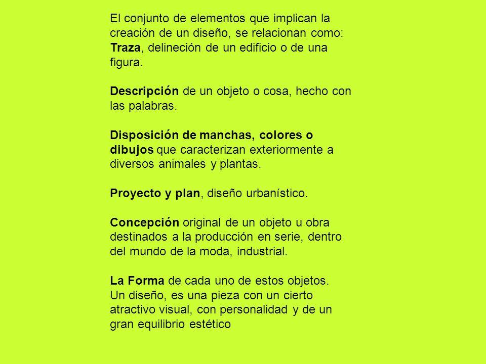 El conjunto de elementos que implican la creación de un diseño, se relacionan como: Traza, delineción de un edificio o de una figura. Descripción de u