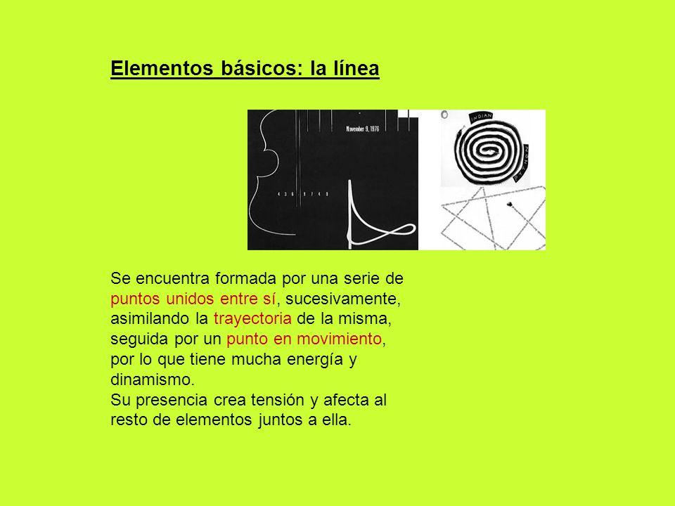 Elementos básicos: la línea Se encuentra formada por una serie de puntos unidos entre sí, sucesivamente, asimilando la trayectoria de la misma, seguid
