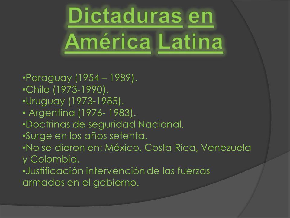 Paraguay (1954 – 1989). Chile (1973-1990). Uruguay (1973-1985). Argentina (1976- 1983). Doctrinas de seguridad Nacional. Surge en los años setenta. No