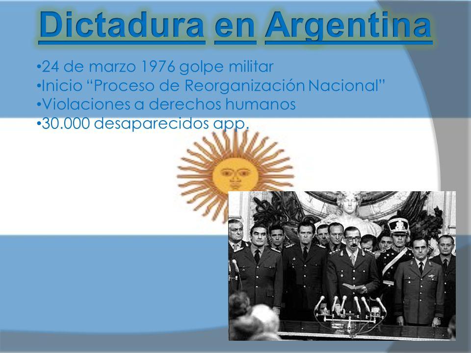 24 de marzo 1976 golpe militar Inicio Proceso de Reorganización Nacional Violaciones a derechos humanos 30.000 desaparecidos app.