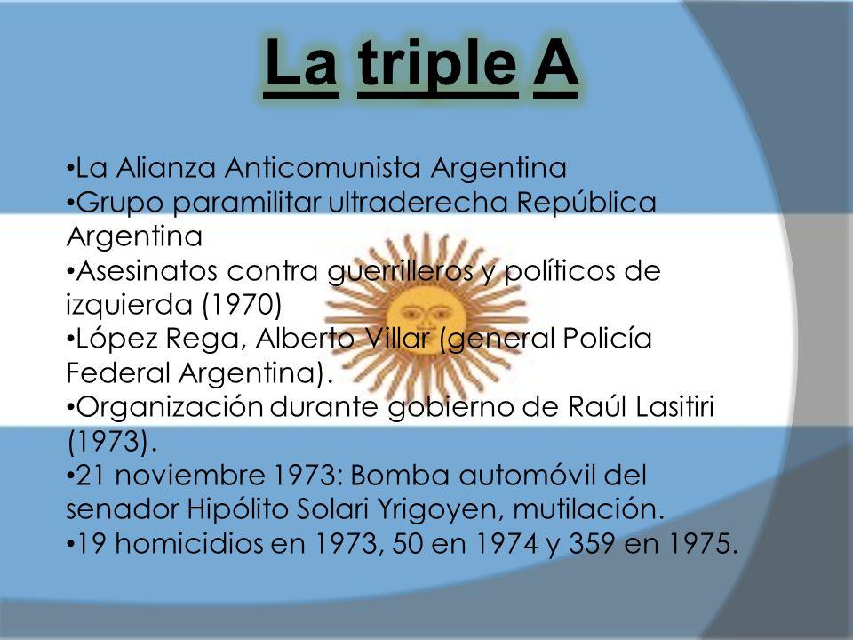 La Alianza Anticomunista Argentina Grupo paramilitar ultraderecha República Argentina Asesinatos contra guerrilleros y políticos de izquierda (1970) L