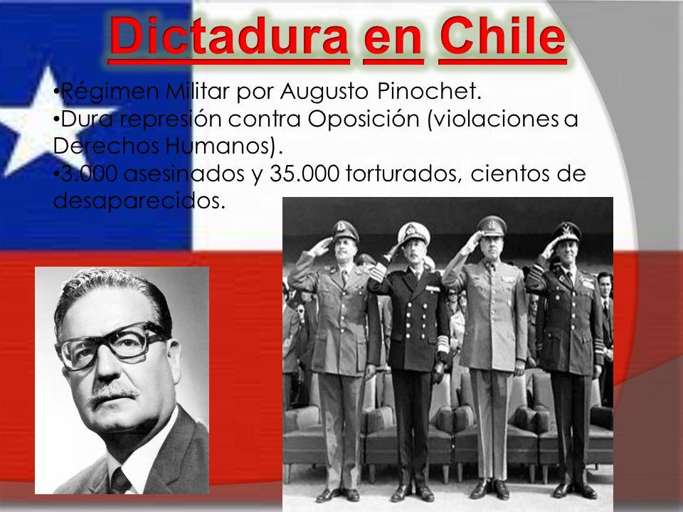 Régimen Militar por Augusto Pinochet. Dura represión contra Oposición (violaciones a Derechos Humanos). 3.000 asesinados y 35.000 torturados, cientos