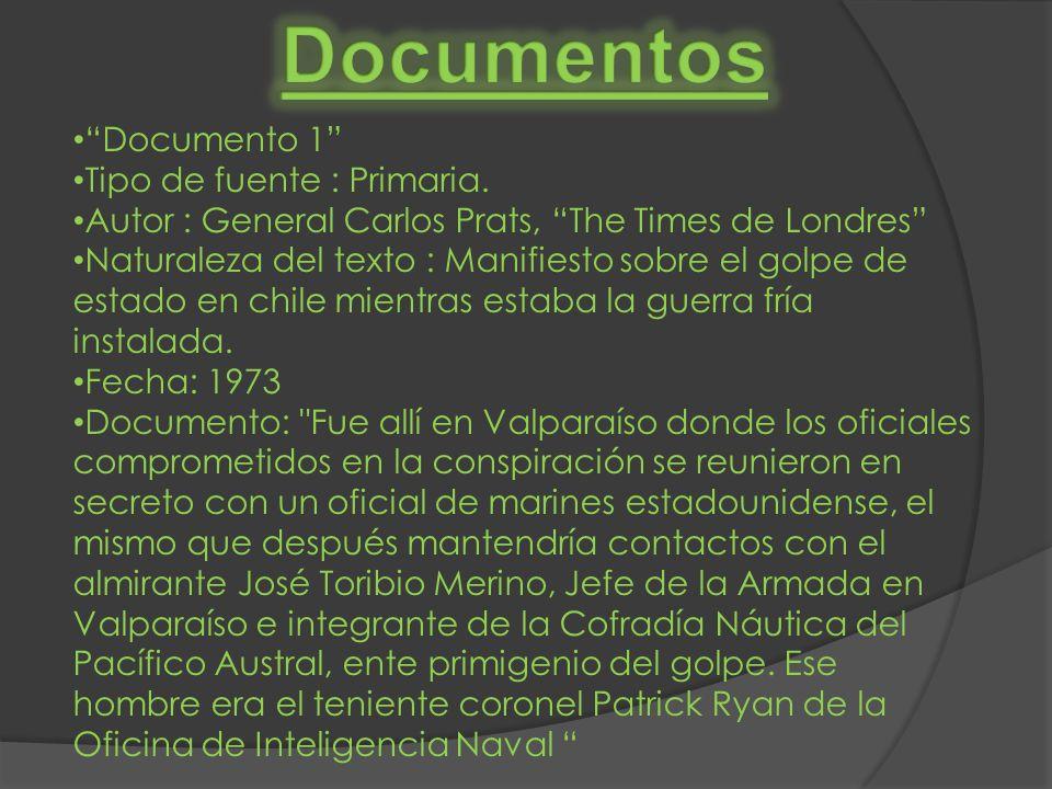 Documento 1 Tipo de fuente : Primaria. Autor : General Carlos Prats, The Times de Londres Naturaleza del texto : Manifiesto sobre el golpe de estado e