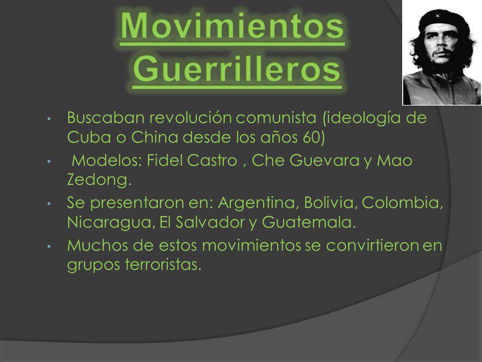 Buscaban revolución comunista (ideología de Cuba o China desde los años 60) Modelos: Fidel Castro, Che Guevara y Mao Zedong. Se presentaron en: Argent