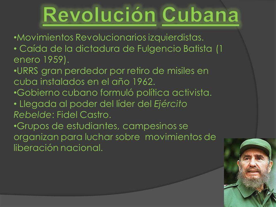 Movimientos Revolucionarios izquierdistas. Caída de la dictadura de Fulgencio Batista (1 enero 1959). URRS gran perdedor por retiro de misiles en cuba