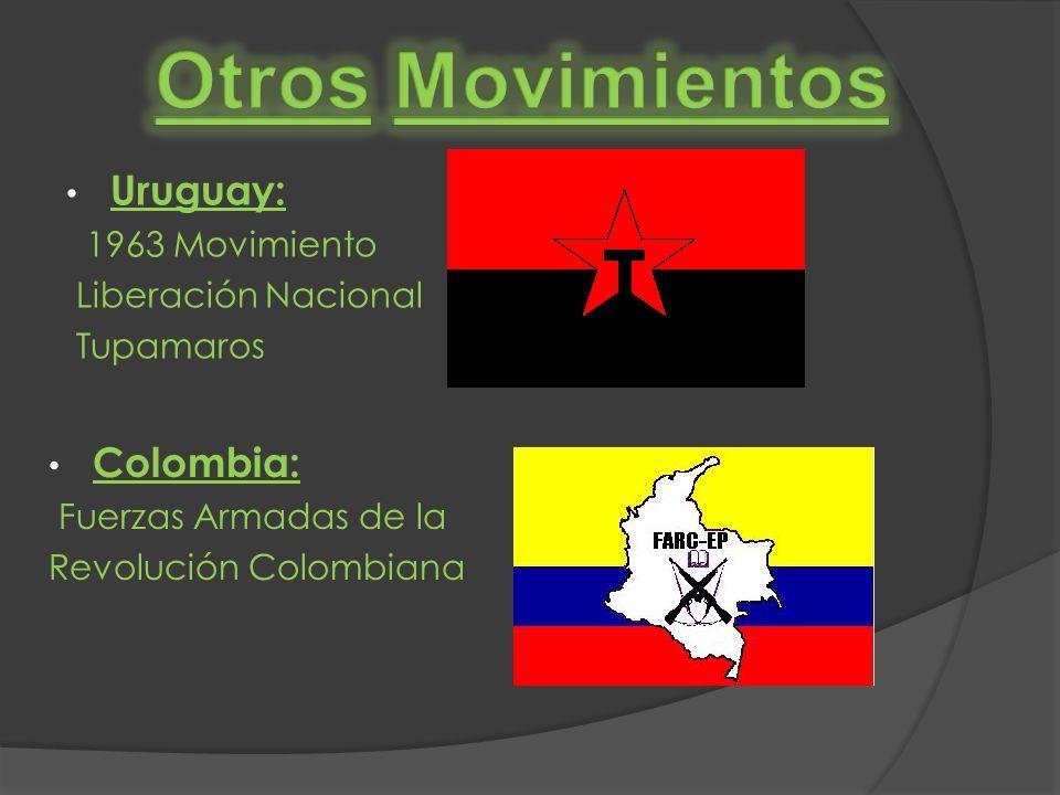 Colombia: Fuerzas Armadas de la Revolución Colombiana Uruguay: 1963 Movimiento Liberación Nacional Tupamaros
