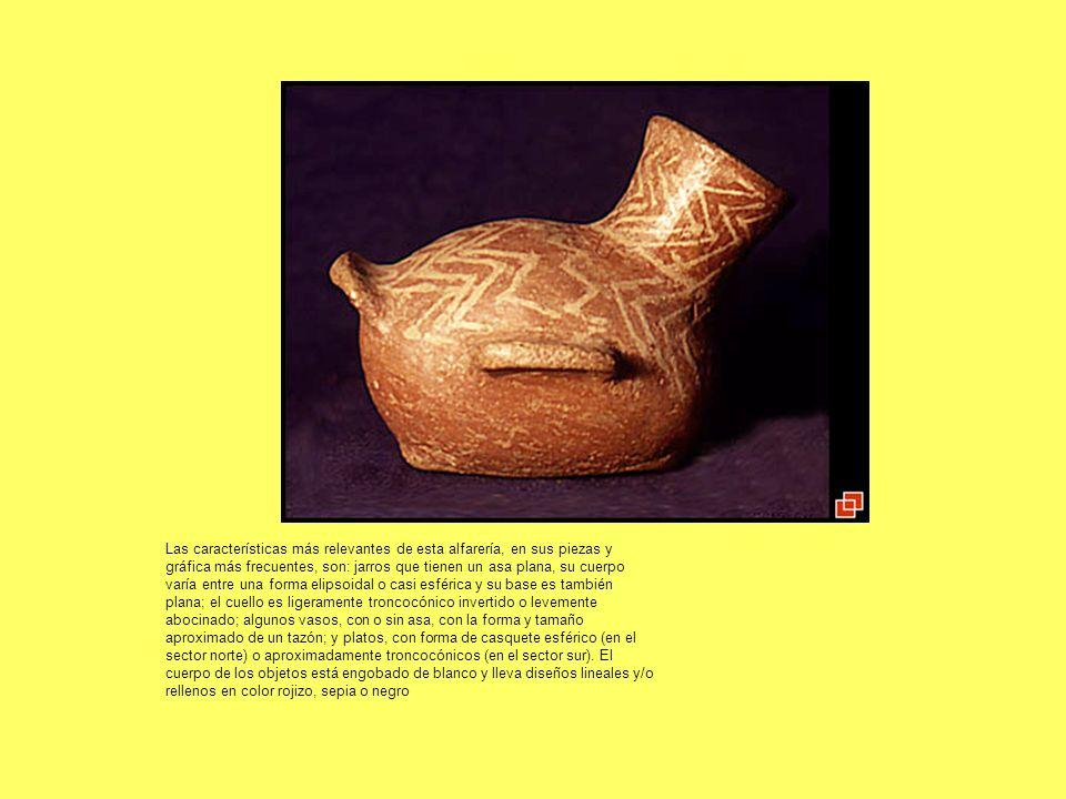 Las características más relevantes de esta alfarería, en sus piezas y gráfica más frecuentes, son: jarros que tienen un asa plana, su cuerpo varía ent