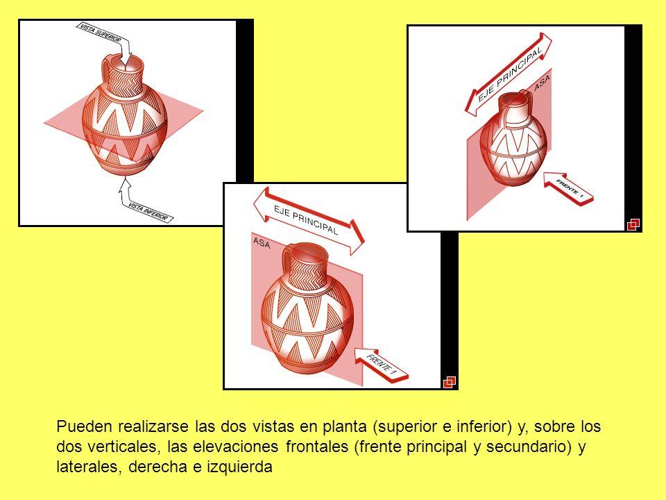 Pueden realizarse las dos vistas en planta (superior e inferior) y, sobre los dos verticales, las elevaciones frontales (frente principal y secundario