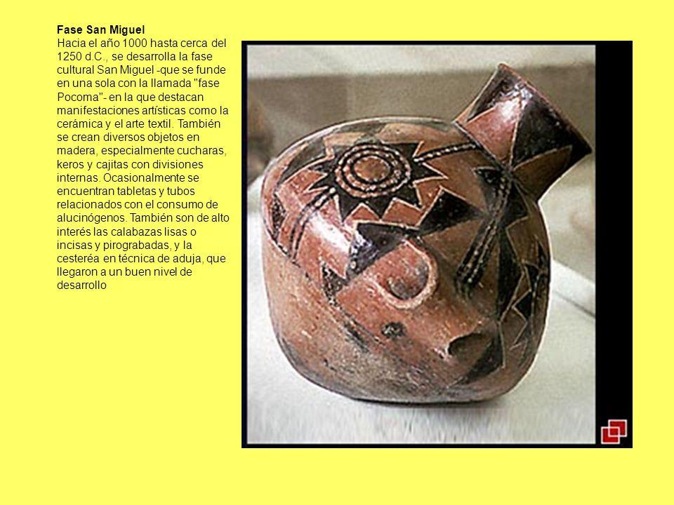 Hacia el año 1000 hasta cerca del 1250 d.C., se desarrolla la fase cultural San Miguel -que se funde en una sola con la llamada