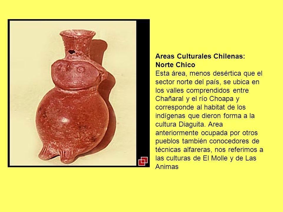 Areas Culturales Chilenas: Norte Chico Esta área, menos desértica que el sector norte del país, se ubica en los valles comprendidos entre Chañaral y e