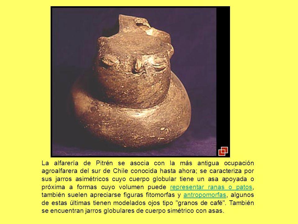 La alfarería de Pitrén se asocia con la más antigua ocupación agroalfarera del sur de Chile conocida hasta ahora; se caracteriza por sus jarros asimét