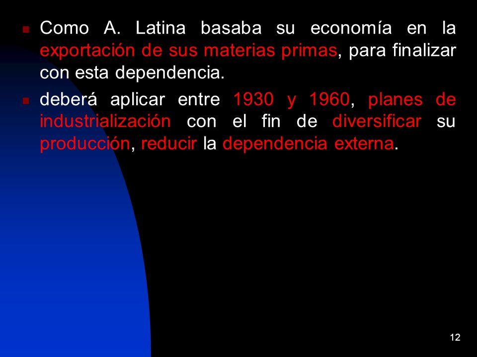 12 Como A. Latina basaba su economía en la exportación de sus materias primas, para finalizar con esta dependencia. deberá aplicar entre 1930 y 1960,