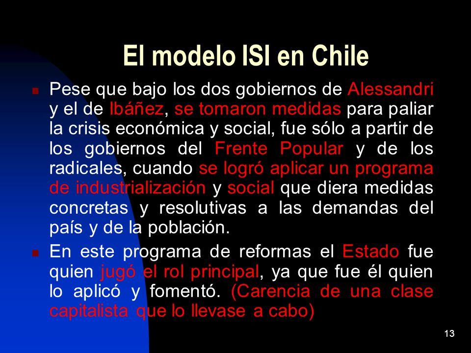 13 El modelo ISI en Chile Pese que bajo los dos gobiernos de Alessandri y el de Ibáñez, se tomaron medidas para paliar la crisis económica y social, f