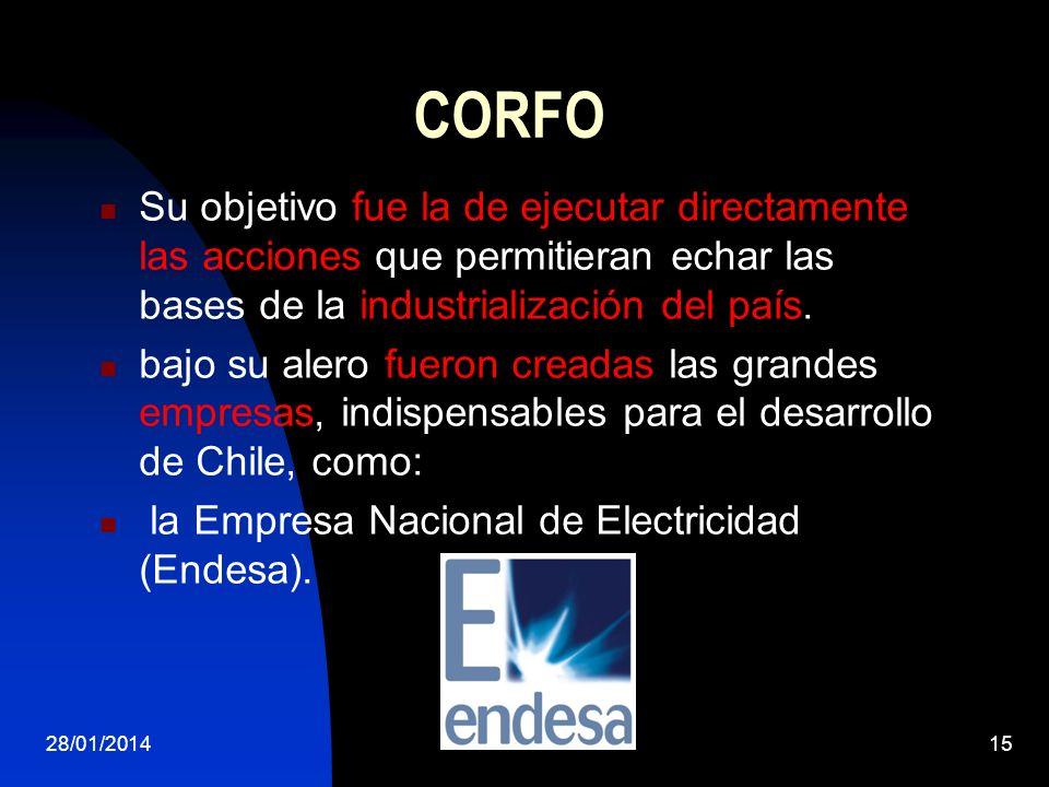 CORFO Su objetivo fue la de ejecutar directamente las acciones que permitieran echar las bases de la industrialización del país. bajo su alero fueron