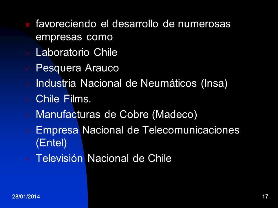 favoreciendo el desarrollo de numerosas empresas como Laboratorio Chile Pesquera Arauco Industria Nacional de Neumáticos (Insa) Chile Films. Manufactu