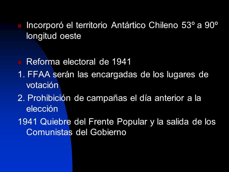 Incorporó el territorio Antártico Chileno 53º a 90º longitud oeste Reforma electoral de 1941 1. FFAA serán las encargadas de los lugares de votación 2