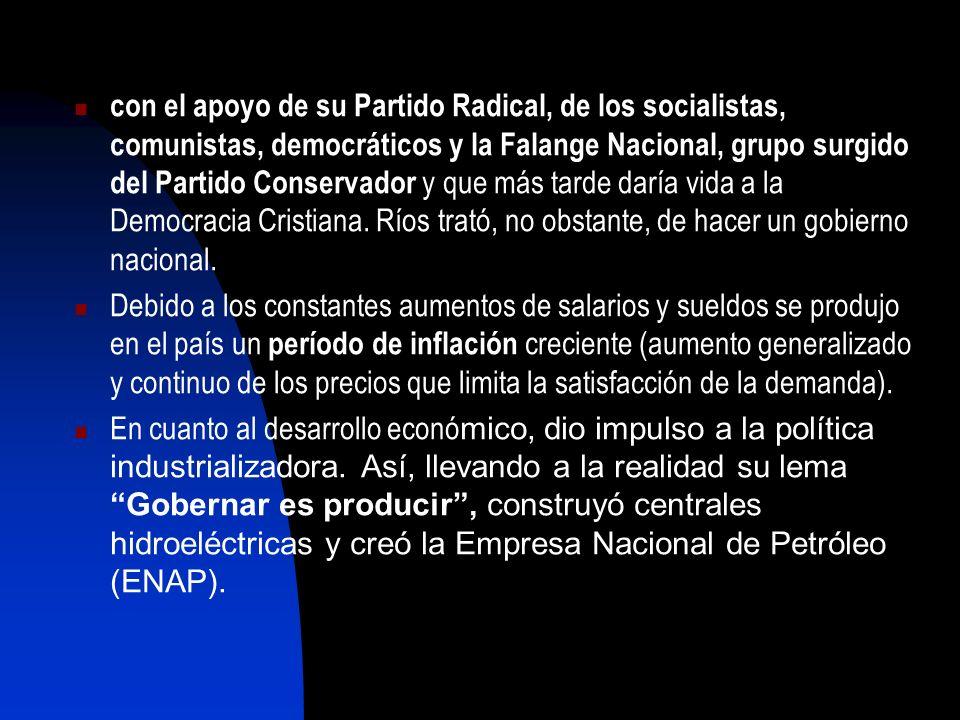 con el apoyo de su Partido Radical, de los socialistas, comunistas, democráticos y la Falange Nacional, grupo surgido del Partido Conservador y que má