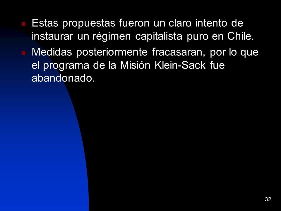 Estas propuestas fueron un claro intento de instaurar un régimen capitalista puro en Chile. Medidas posteriormente fracasaran, por lo que el programa