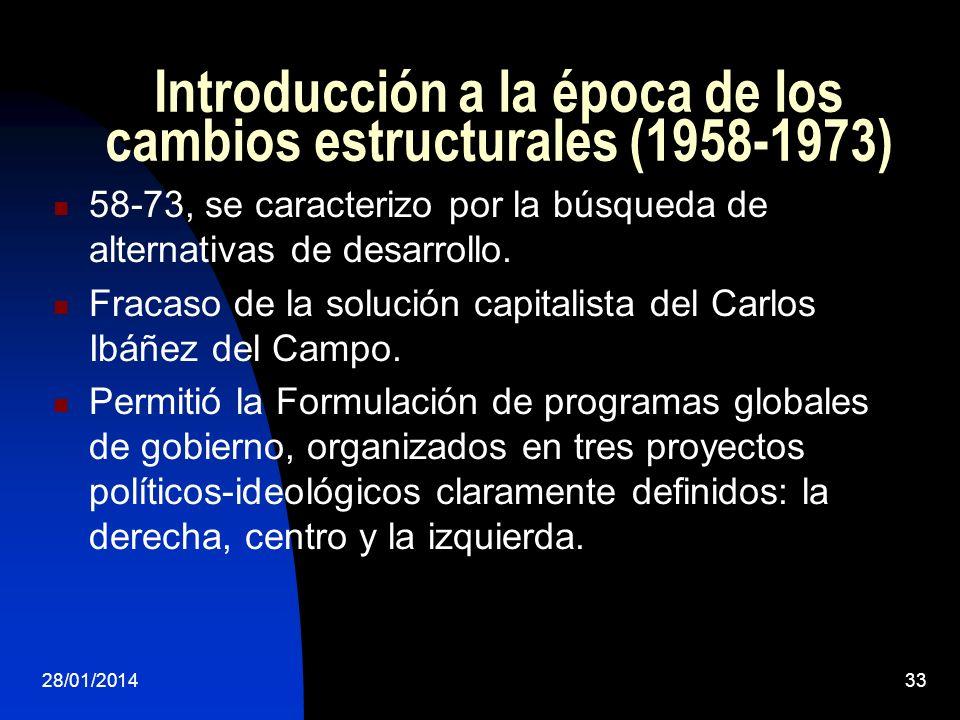 Introducción a la época de los cambios estructurales (1958-1973) 58-73, se caracterizo por la búsqueda de alternativas de desarrollo. Fracaso de la so